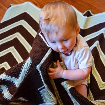 Chocolate Mint Retro Baby / Toddler Knitted Blanket