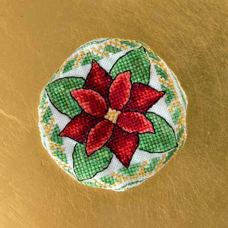Poinsettia Biscornu Ornament