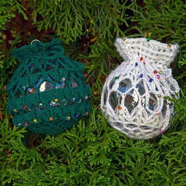Crocodile Stitch & Lace Ornament Covers