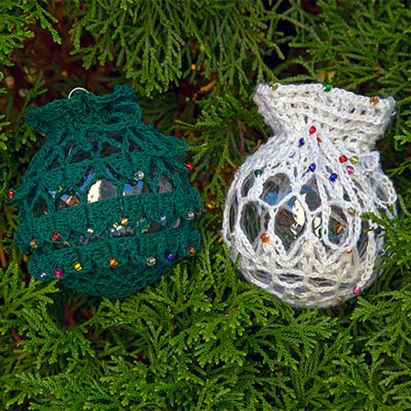 Crocodile Stitch & Lace Ornament Covers