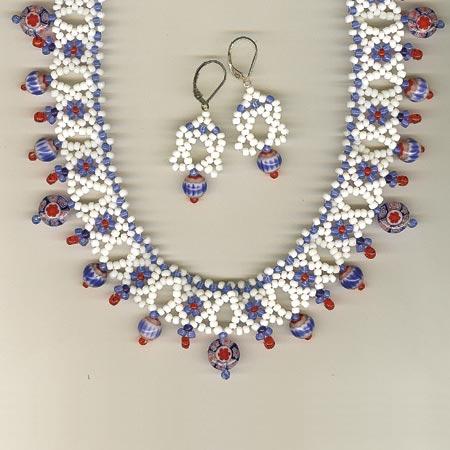 Millefiori Mosaic Collar & Earrings detail