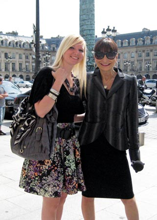 Sarah and Jeanne Becker outside Armani Privé  Couture Show