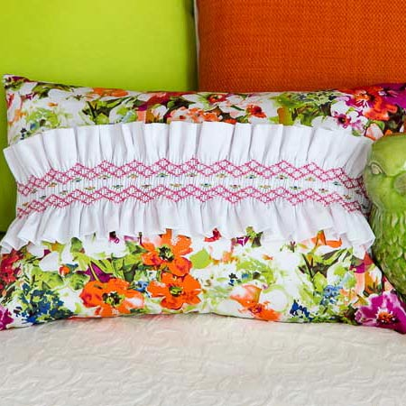 A Bed of Roses Smocked Cushion Top
