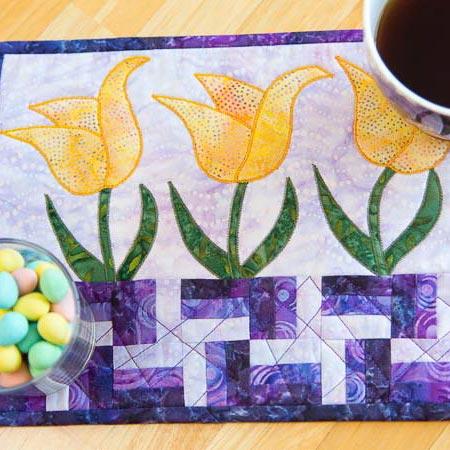 Dancing Tulips Mug Rug