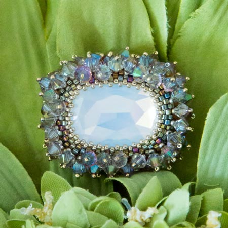 White Opal Spring Brooch detail