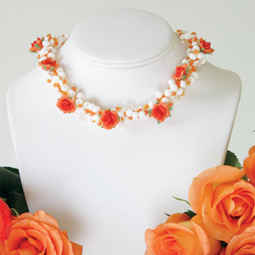 Orange Blossom Crocheted Necklace