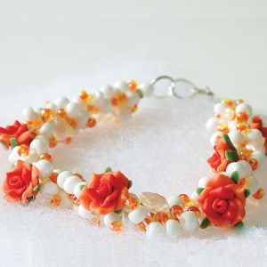 Orange Blossom Crocheted Necklace - detail