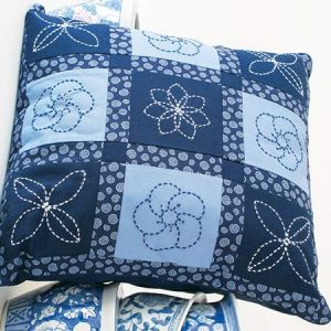True Blue in Sashiko Pillow