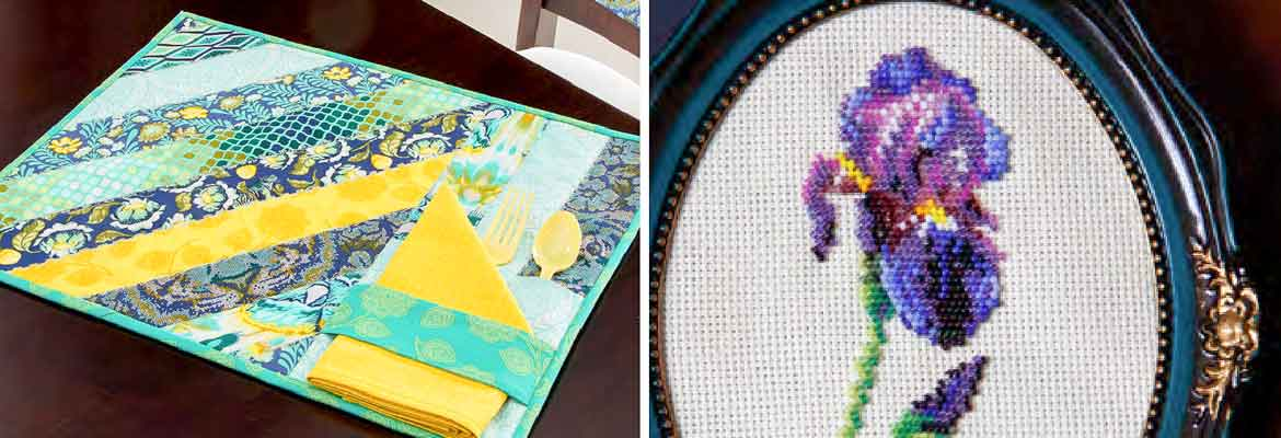 Quilting | Sunshine Stripes Placemats and Chair Back Cover - Joy Paolozza Beading | Beaded Iris-istible - Brenda Franklin