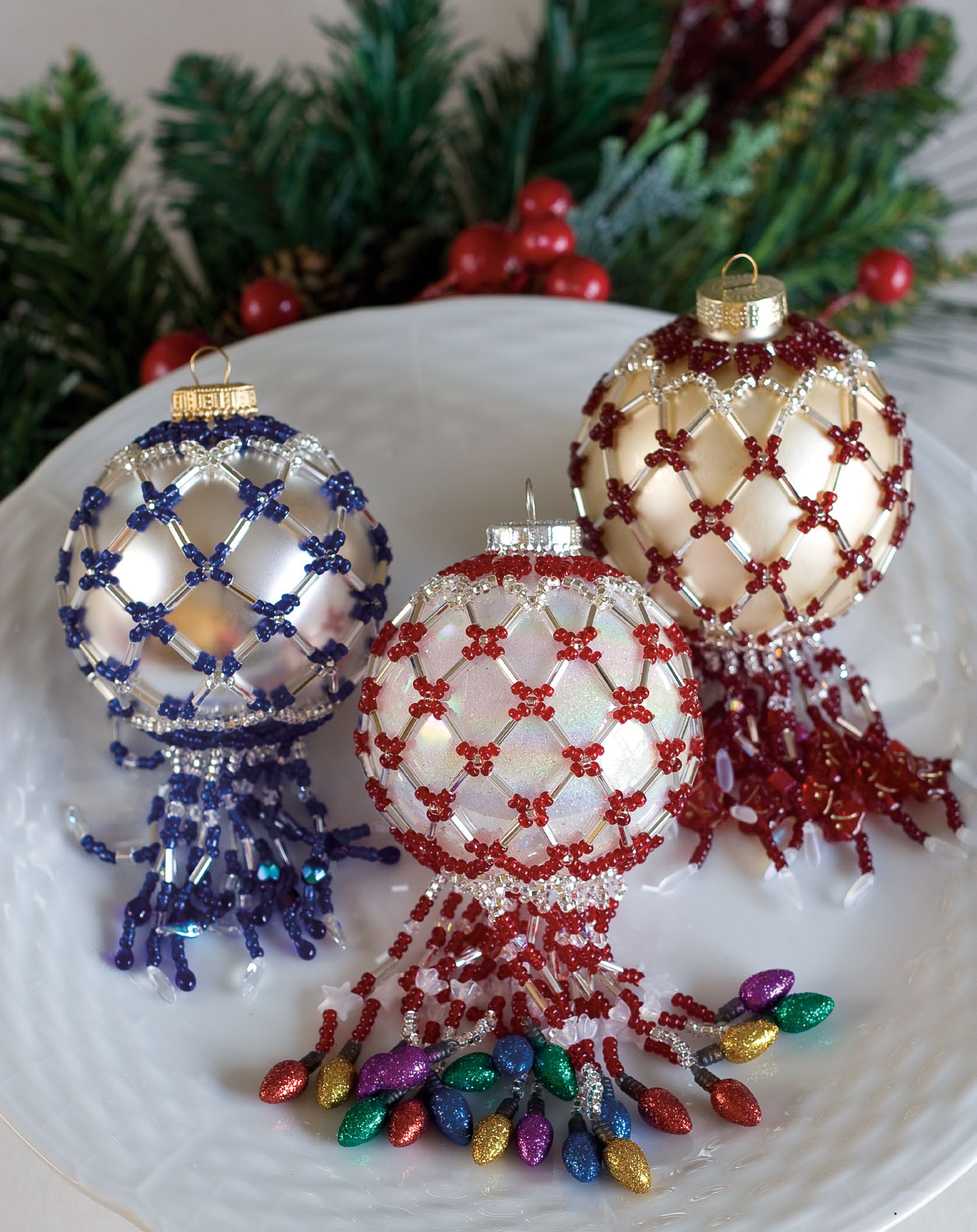 Beaded Ornament Covers Pattern - Festive 2011