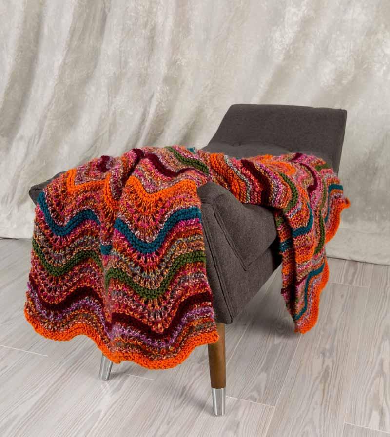 Wavy Treasures Throw Pattern - Knitting