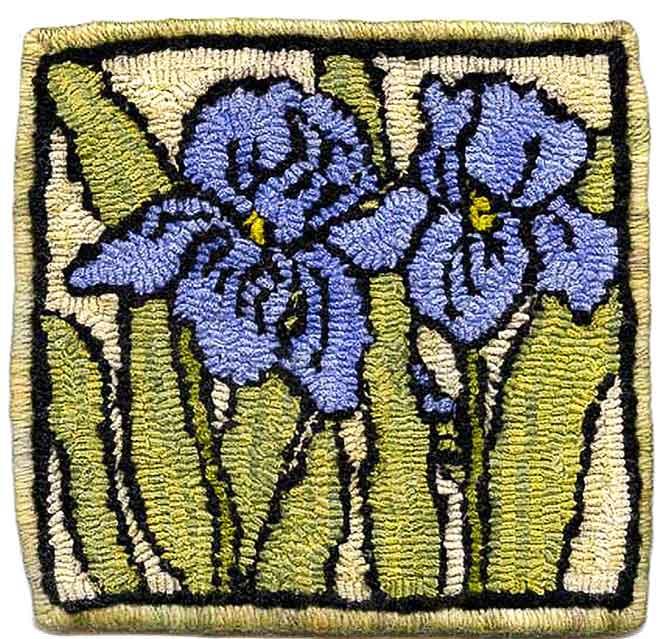 Hooking an Iris Trivet