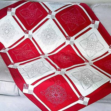 Red and White Celebration Lap Quilt