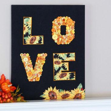 LOVE! In Fall Appliqué Button Art