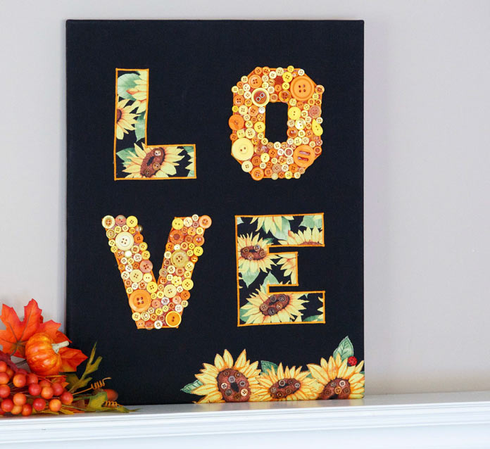 LOVE! In Fall Appliqué Button Art