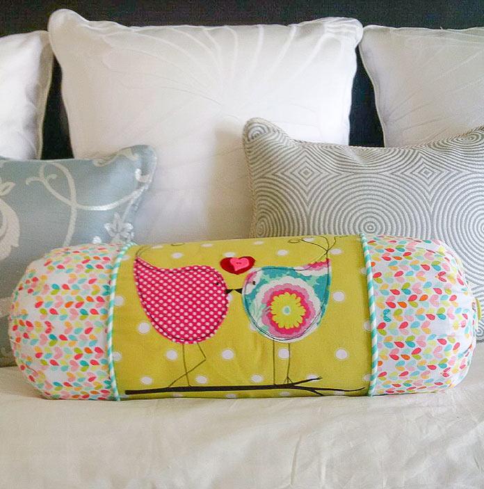 Funky Lovebirds Bolster Pillow