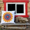 Throat Chakra Mandala Quilted Cushion Cover