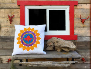 Throat Chakra Mandala Quilted Cushion Cover