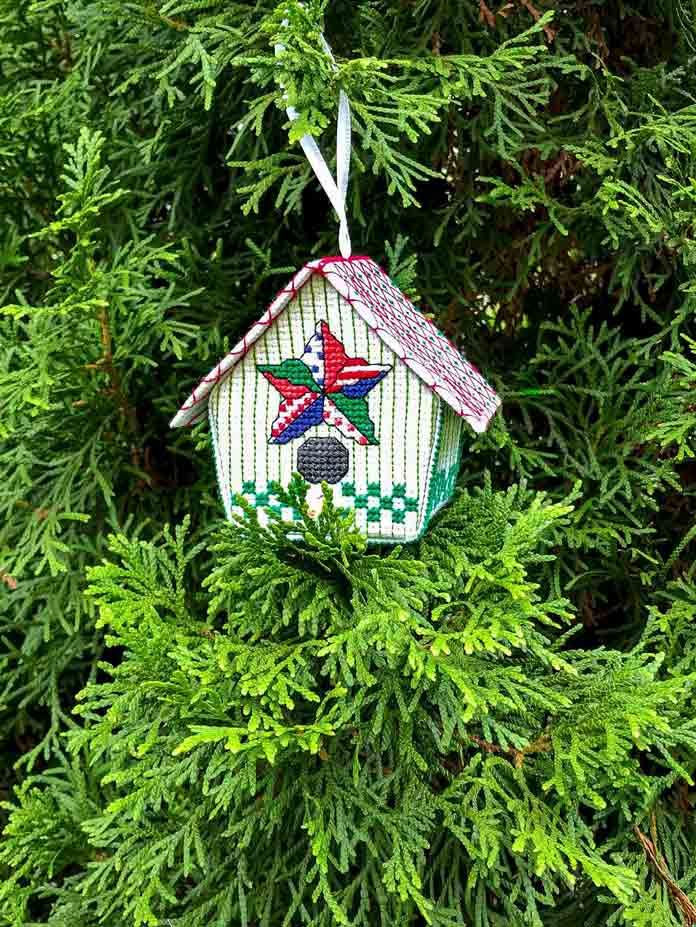 Quilted Birdhouse Ornament