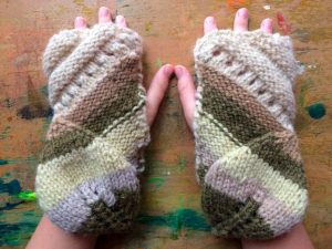 Falling Leaves Fingerless Mittens