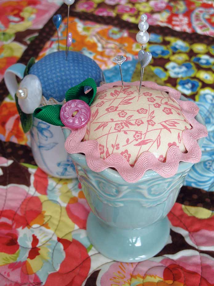 Repurposed Pottery Pin Cushions