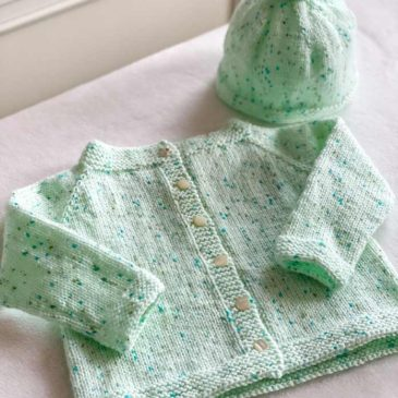 How sweet it is baby cardigan and hat set